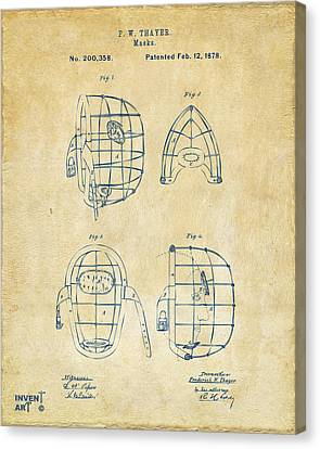 1878 Baseball Catchers Mask Patent - Vintage Canvas Print by Nikki Marie Smith