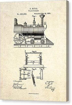 1878 Railroad Track Clearer Patent Art Canvas Print