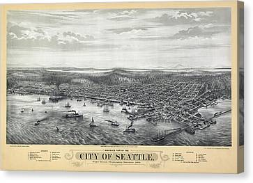 1878 Seattle Washington Map Canvas Print by Daniel Hagerman