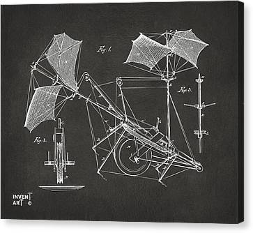 1879 Quinby Aerial Ship Patent Minimal - Gray Canvas Print by Nikki Marie Smith