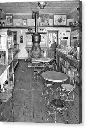 1880 Drug Store Black And White Canvas Print by Ken Smith