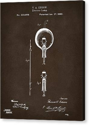 Edison Canvas Print - 1880 Edison Electric Lamp Patent Artwork Espresso by Nikki Marie Smith