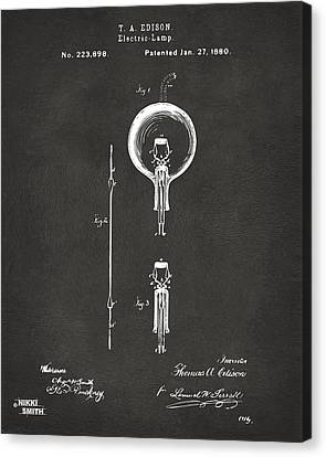 Thomas Canvas Print - 1880 Edison Electric Lamp Patent Artwork - Gray by Nikki Marie Smith