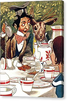 March Hare Canvas Print - 1880s Illustration From Alice by Vintage Images