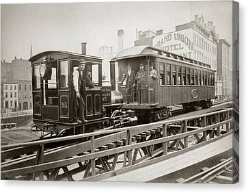 1880s Canvas Print - 1880s Men On Board Elevated Locomotive by Vintage Images