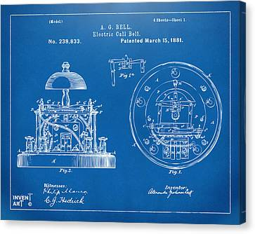 Innovator Canvas Print - 1881 Alexander Graham Bell Electric Call Bell Patent Blueprint by Nikki Marie Smith