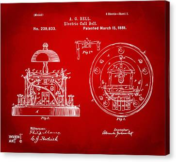 Innovator Canvas Print - 1881 Alexander Graham Bell Electric Call Bell Patent Red by Nikki Marie Smith