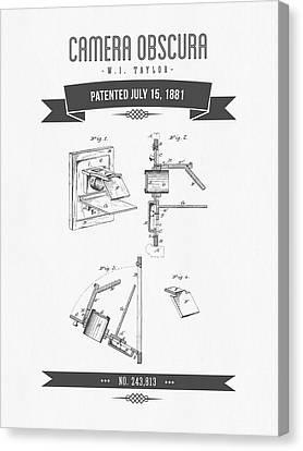 1881 Camera Obscura  Patent Drawing - Retro Gray Canvas Print by Aged Pixel