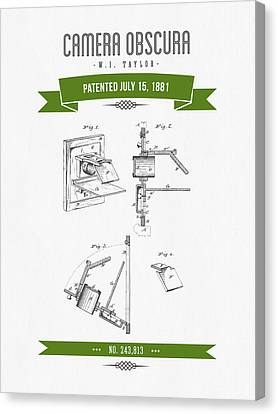 1881 Camera Obscura  Patent Drawing - Retro Green Canvas Print by Aged Pixel