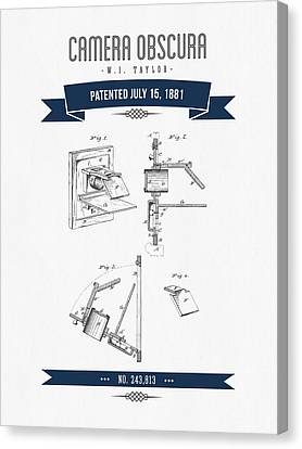 1881 Camera Obscura  Patent Drawing - Retro Navy Blue Canvas Print