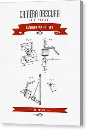 1881 Camera Obscura  Patent Drawing - Retro Red Canvas Print by Aged Pixel