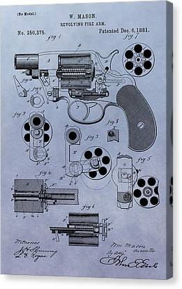 1881 Colt Revolver Patent Canvas Print by Dan Sproul