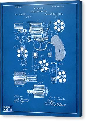 1881 Colt Revolving Fire Arm Patent Artwork - Blueprint Canvas Print by Nikki Marie Smith
