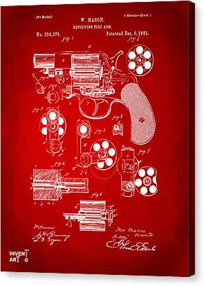 1881 Colt Revolving Fire Arm Patent Artwork Red Canvas Print by Nikki Marie Smith