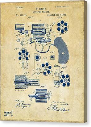 1881 Colt Revolving Fire Arm Patent Artwork Vintage Canvas Print by Nikki Marie Smith