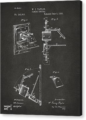 1881 Taylor Camera Obscura Patent Gray Canvas Print by Nikki Marie Smith