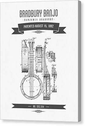 1882 Bradburry Banjo Patent Drawing Canvas Print by Aged Pixel