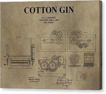 1882 Cotton Gin Patent Canvas Print by Dan Sproul