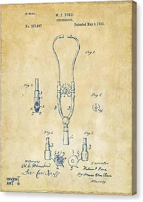 1882 Doctor Stethoscope Patent - Vintage Canvas Print
