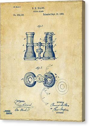Celebrities Canvas Print - 1882 Opera Glass Patent Artwork - Vintage by Nikki Marie Smith