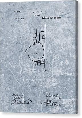 1882 Urinal Patent Blue Canvas Print