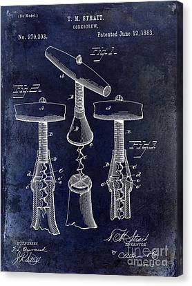 1883 Corkscrew Patent Drawing Canvas Print