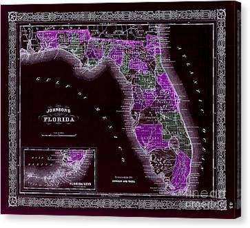 1883 Florida Map Black Canvas Print by Jon Neidert