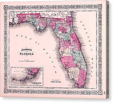 1883 Florida Map  Canvas Print