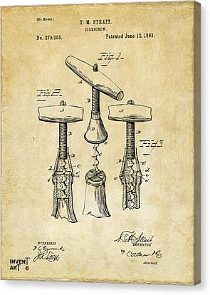 1883 Wine Corckscrew Patent Art - Vintage Black Canvas Print