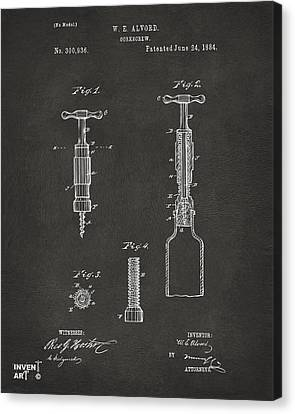 1884 Corkscrew Patent Artwork - Gray Canvas Print by Nikki Marie Smith