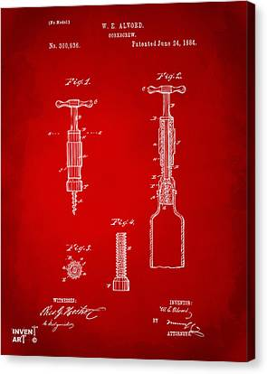 1884 Corkscrew Patent Artwork - Red Canvas Print by Nikki Marie Smith