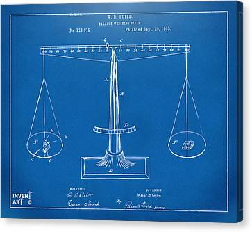 1885 Balance Weighing Scale Patent Artwork Blueprint Canvas Print by Nikki Marie Smith