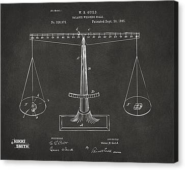 1885 Balance Weighing Scale Patent Artwork - Gray Canvas Print by Nikki Marie Smith