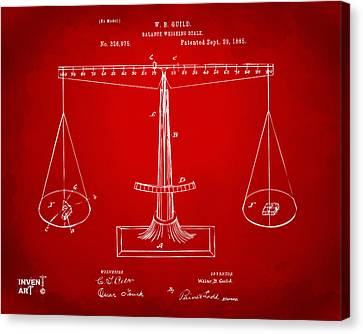 1885 Balance Weighing Scale Patent Artwork Red Canvas Print by Nikki Marie Smith