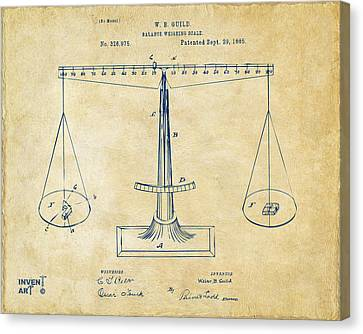 1885 Balance Weighing Scale Patent Artwork Vintage Canvas Print by Nikki Marie Smith
