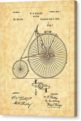 1885 Kelly Large Wheel Bicycle Patent Canvas Print
