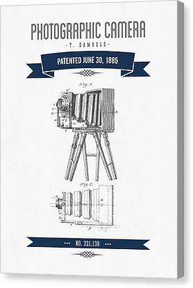 1885 Photographic Camera Patent Drawing - Retro Navy Blue Canvas Print by Aged Pixel