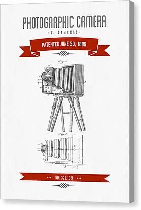 1885 Photographic Camera Patent Drawing - Retro Red Canvas Print by Aged Pixel