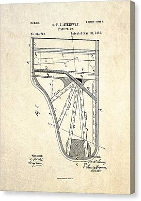 Framed Canvas Print - 1885 Steinway Piano Frame Patent Art by Gary Bodnar