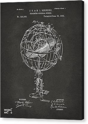 1885 Terrestro Sidereal Sphere Patent Artwork - Gray Canvas Print by Nikki Marie Smith