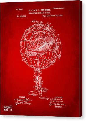 1885 Terrestro Sidereal Sphere Patent Artwork - Red Canvas Print by Nikki Marie Smith