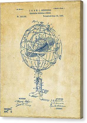 1885 Terrestro Sidereal Sphere Patent Artwork - Vintage Canvas Print by Nikki Marie Smith