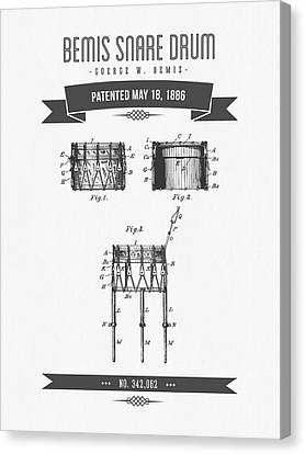 1886 Bemis Snare Drum Patent Drawing Canvas Print by Aged Pixel