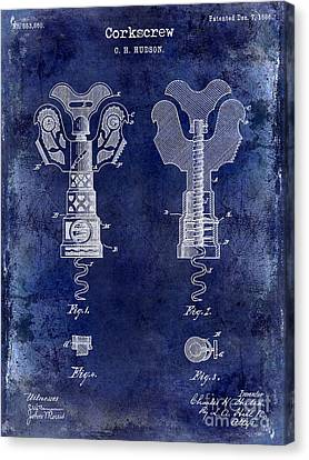 1886 Corkscrew Patent Drawing Blue Canvas Print by Jon Neidert