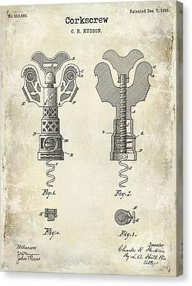 Napa Valley Vineyard Canvas Print - 1886 Corkscrew Patent Drawing by Jon Neidert