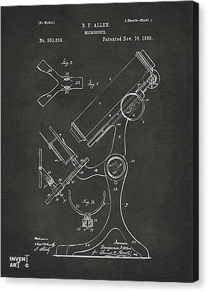 1886 Microscope Patent Artwork - Gray Canvas Print by Nikki Marie Smith