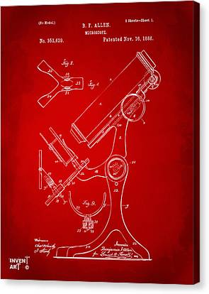 1886 Microscope Patent Artwork - Red Canvas Print by Nikki Marie Smith