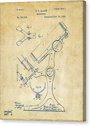 1886 Microscope Patent Artwork - Vintage Canvas Print by Nikki Marie Smith