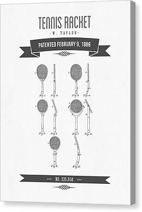 1886 Tennis Racket Patent Drawing - Retro Gray Canvas Print by Aged Pixel