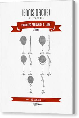 1886 Tennis Racket Patent Drawing - Retro Red Canvas Print by Aged Pixel